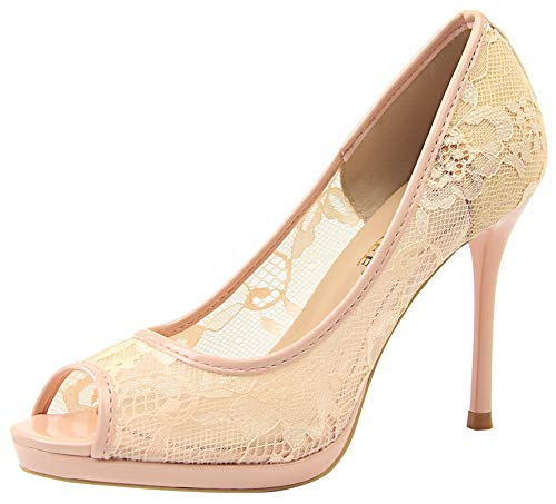 Aisun Women's Peep Toe Pumps with Platform - Sexy Cutout Lace Mesh Slip On - Stiletto High Heels Wedding Shoes (Pink, 4.5 M ()