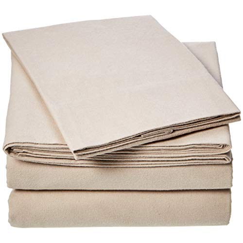 AmazonBasics Everyday Flannel Sheet Set - Taupe, Twin XL ()