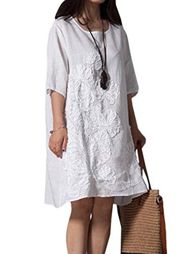 Azbro Mujer Casual Demure suelto sólido lino vestido Blanco