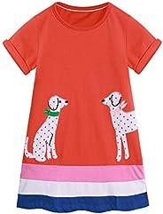 MetCuennto Toddler Girls Animal Stripe Cotton Dress Short & Long Sleeves Casual Summer Basic Active Shirt