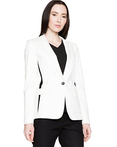 LE CHÂTEAU Ponte Notch Collar Blazer,XXS,Off White/Black