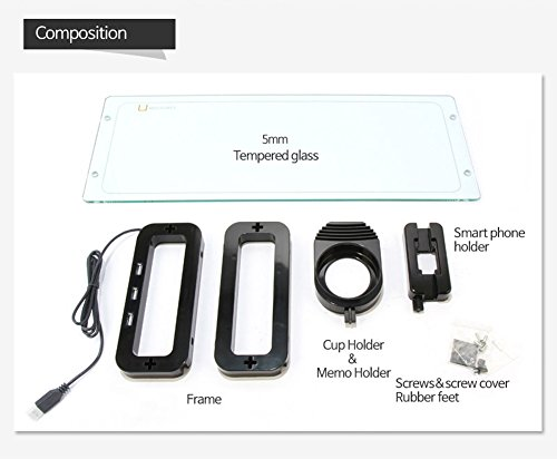 Sunnone UBOARD SMART 3.0 - Tempered Glass Monitor Stand Shelf Built-in 3 x USB 3.0 Hub - Black by U-board (Image #3)