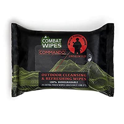 Combat Wipes COMMANDO | Black, Unscented Camouflage Wet Wipes | Thick, Ultralight, Biodegradable, Heavy Duty Cleansing Cloths for Camping, Military, Hunting & Backpacking w/Aloe & Vitamin E (25 Wipes)