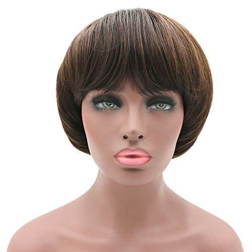 Afro Girls Cosplay Mushroom Wig Short Haircut with Bangs Bob Wig for Black Women Brown