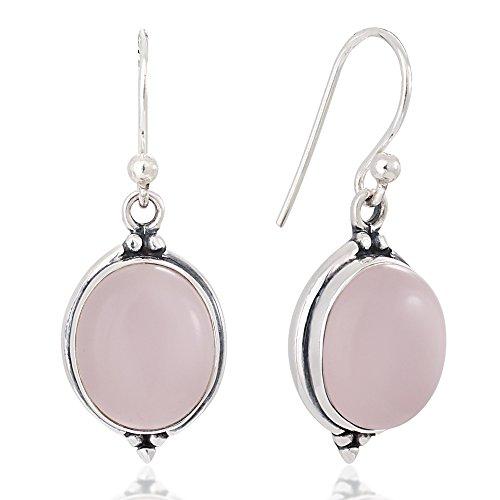 (925 Oxidized Sterling Silver Pink Stone Oval Vintage Dangle Hook Earrings 1.3