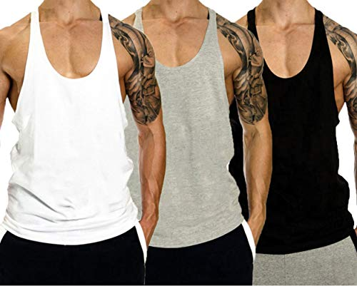 InleaderStyle Men Gym Bodybuilding Blank Stringer Cotton Tank Top Vest(1/3 Pack)