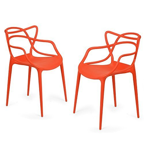 [EDECO Modern Contemporary Polypropylene Design Stackable Arm Chair Set of 2 for Kitchen Living Room Indoor Outdoor Patio Counter Stools (Orange)] (Bamboo Living Room Folding Chair)