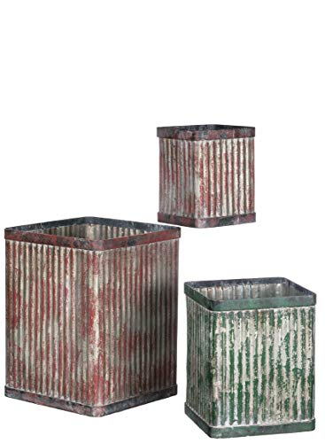 Flower Nesting Pots (Sullivans Square Planter Pots, Rustic Weathered Nesting Basins, 8