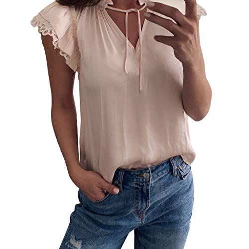 (KI-8jcuD Tops,Women Sweet Bow Short Sleeve Sexy V Neck Lace Vest Party Blouse Beige)