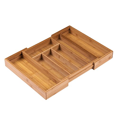 Ancona life Large Expandable Cutlery Tray & Drawer Organizer,Utensil Organizer 7 Compartments, 2 with Adjustable Dimensions, Beautiful and Durable Bamboo (Fit Drawer Organizer)