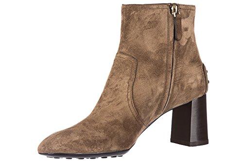 Tod's demi bottes femme à talon en daim caoutchouc t70 tronchetto marron