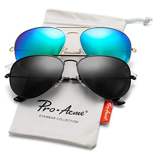 Pro Acme Classic Polarized Aviator Sunglasses for Men and Women UV400 Protection (2 Pairs) Black Frame/Black Lens + Gold Frame/Green Mirrored Lens