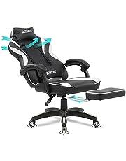 Olsen & Smith Xtreme Gamingstoel, bureaustoel, ergonomische bureaustoel, computerstoel, leunstoel, draaistoel met lendensteun, kussen, voetensteun, zwart-wit