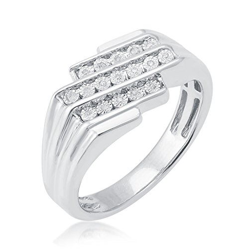 V3 jewelry Sterling Silver 0.06ct TDW White Diamond Men's Ring 0.06 Ct White Diamond