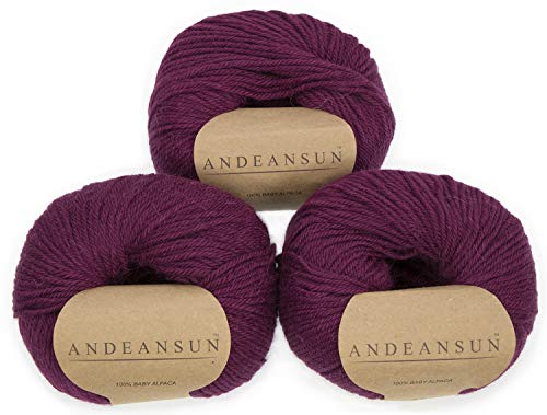 (100% Baby Alpaca Yarn (Weight #3) DK - Set of 3 - AndeanSun - Luxuriously Soft for Knitting, Crocheting - Great for Baby Garments, Scarves, Hats, and Craft Projects - (Vino))