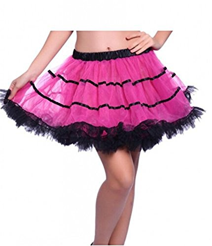 BRL MALL Women's 80's Party Skirt Fluffy Striped Layers Costume Petticoat (S-M, Fushsia and -