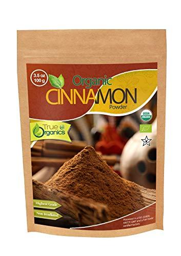 Organic Ceylon Cinnamon Powder USDA Organic Certified, Fair-Trade, Pure Ceylon Premium Quality by True Organics (3.5 oz) -