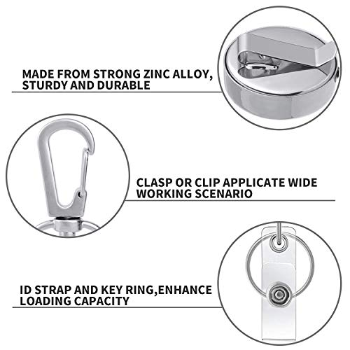 Retractable Badge Holder,Cabf Heavy Duty Badge Holder Reel with Key Ring,Pack of 6 Card Holder,All Metal Casing with 27