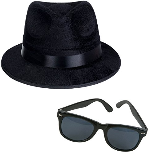 Black Fedora Gangster Hat and Wayfarer Black Sunglasses by Funny Party - The Costume Blues Brothers