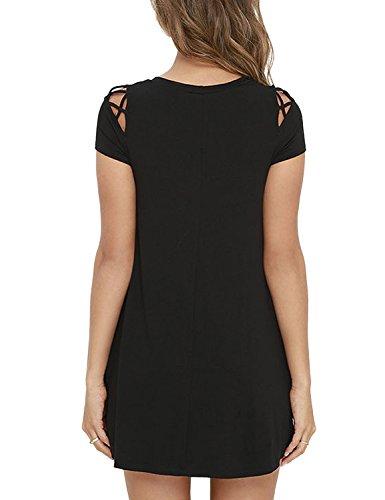 A Svasato Corta Nero Line Piccolo Donna Vestito nero Dress Ad Abito Vestitino Mini Linea A BMJL Corte q8zawt