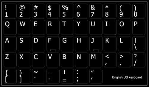 ENGLISH US NON-TRANSPARENT KEYBOARD STICKER BLACK BACKGROUND