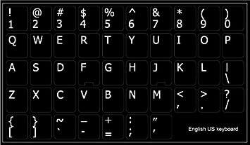 ENGLISH US KEYBOARD STICKER BLACK LETTERS TRANSPARENT