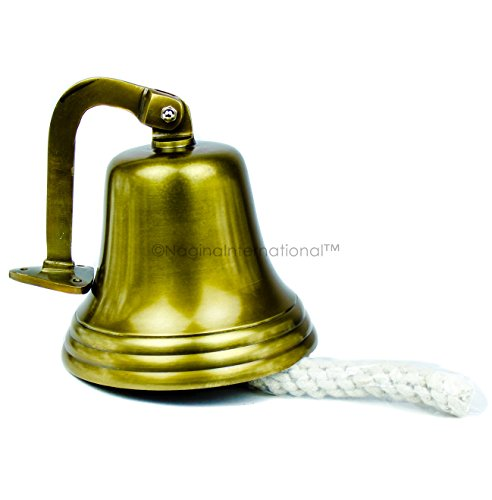 Nagina International Navy's Nautical Ship's Aluminum Cast Premium Bell | Nursery Decor Gifts (11 Inches, Antique Brass)