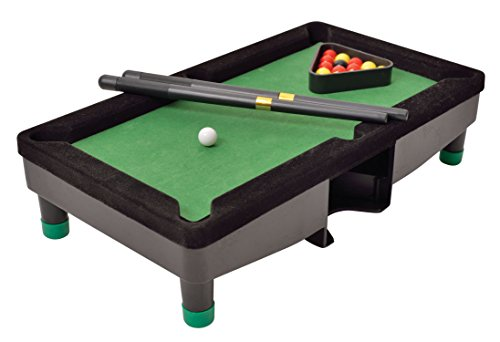 Desktop Miniature Pool Table Set with Mini Pool Balls Cue Sticks Accessories - Tabletop Toy Gaming for Men Women - Play Billiards Snooker - Home Office Desk Stress Relief Games by Perfect Life Ideas