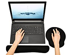 Keyboard and Mouse Wrist Rest Pads - Non-slip Rubber Base Soft Wrist Cushion Pad with Memory Foam (Black)