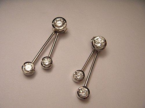 White Gold Bezel Set Diamond Earrings (Estate Set Earrings)