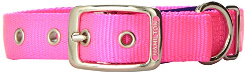 Hamilton Double Thick Nylon Deluxe Dog Collar, 1-Inch by 20-Inch, Hot Pink