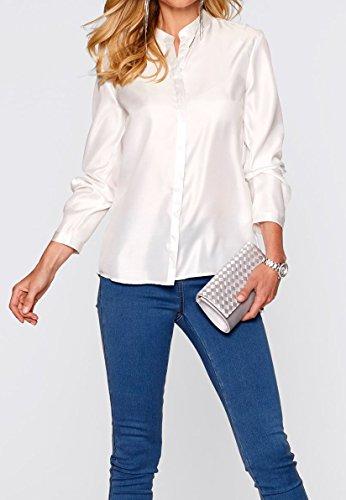 festliche elegante Satin-Longbluse, Langarm Bluse mit Stehkragen cremeweiß