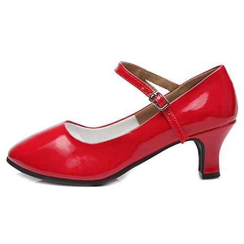 YFF Las mujeres Zapatos de Baile latino moderno Tango zapatos de tacones cuadrados de 5cm. Red 5CM