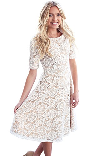 Mikarose Sloan Modest Dress In White Lace w/Nude Lining, Modest Bridesmaid Dress, Modest Semi-Formal Dress - L
