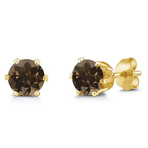 Quartz Swarovski Smoky Necklace (1.60 Ct 6mm Brown Smoky Quartz Brass Yellow Gold Plated Brass Stud Earrings)