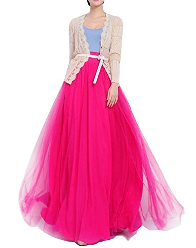 Women Floor Length Long Maxi Puffy Tulle Skirt A Line with Bowknot Belt High Waisted for Wedding Party Evening (Hot Pink, Plus (Full Ball Skirt)