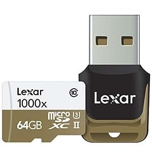 Lexar Professional 1000x microSDXC 64GB UHS-II/U3 (Up to 150MB/s Read) W/USB 3.0 Reader Flash Memory Card LSDMI64GCBNL1000R