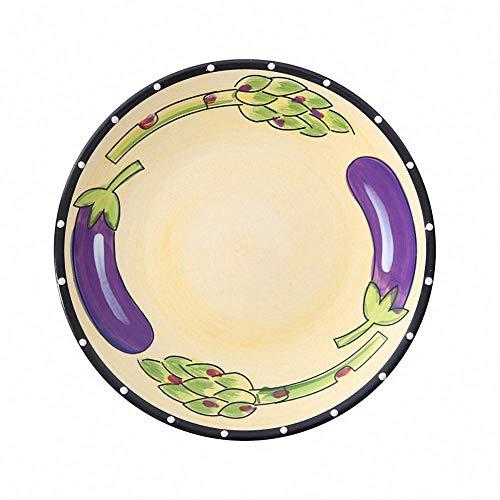 Retro Countryside Hand Printed Ceramic Dinner Plates Underglaze Dinnerware Decorative Dessert Salad Plate Porcelain Breakfast Serving Tray Appetizer Steak Dish Fruit Platter for Party(Eggplant)