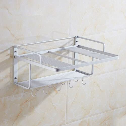 Microwave Rack, 2 Tier Wall Mounted Microwave Oven Rack Kitchen Storage Space Aluminium Rack for Home Restaurant Apartment USA