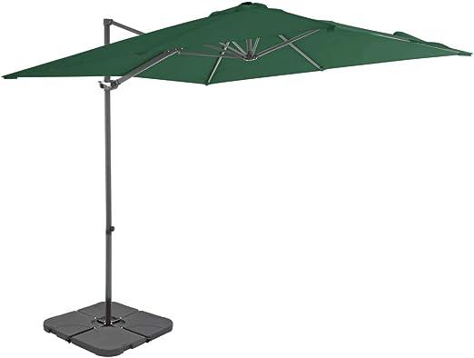 Tidyard - Sombrilla para terraza y jardín, 360 Grados para inclinar y Girar, sombrilla Ajustable con Soporte y manivela, sombrilla de jardín de Aluminio y Acero, Verde/Pardo: Amazon.es: Hogar