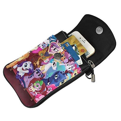 Hdadwy Mobiltelefon crossbody väska min regnbåge ponny kvinnors crossbody handväskor handväska lätta väskor läder mobiltelefon hölster plånbok fodral axelväskor med justerbar rem