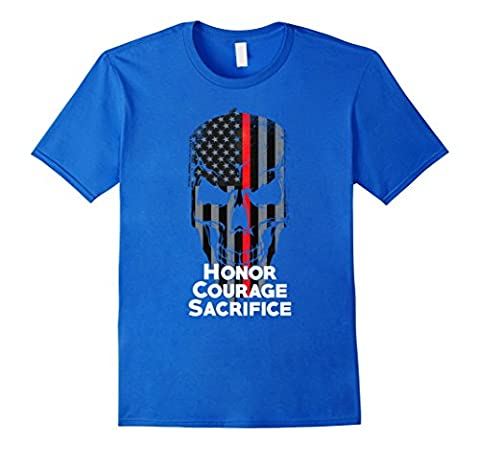Mens Thin Red Line Firefighter American Flag Honor T-Shirt 2XL Royal Blue