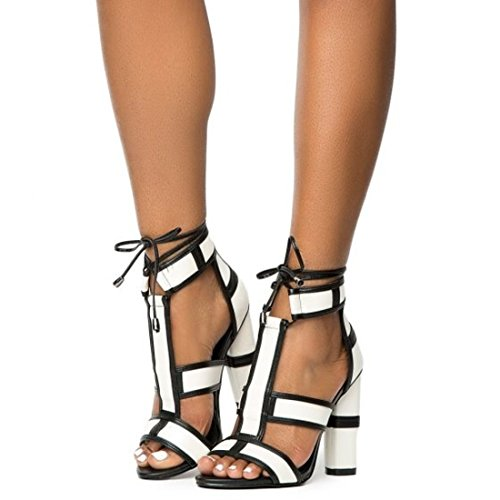 CAPE ROBBIN Maura-2 Ankle Strap Lace up Peep Toe T-Strap Block Heel Leather White (8)