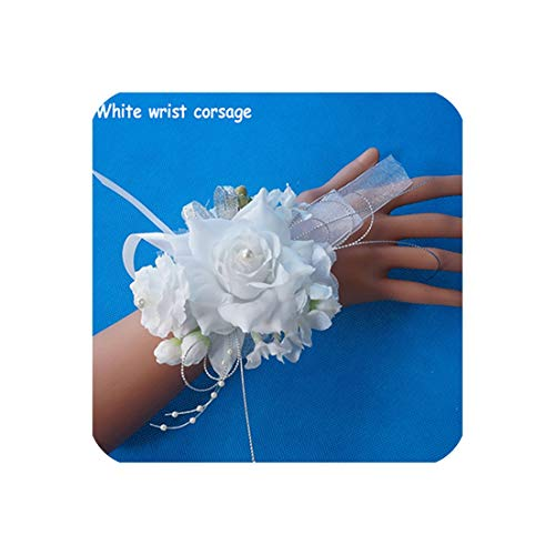 - 1Pc Handcrafted Wrist Corsage Bracelet Artificial Silk Rose Flowers for Wedding Hand Flower Bouquet for Bride Event Supplies,White