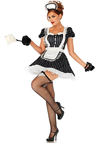 Leg Avenue Maid Costumes - Leg Avenue Women's 2 Pc Sexy French Maid Costume, Black/White, X-LARGE