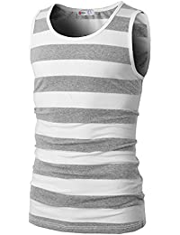 Mens Casual Slim Fit Sleeveless Crewneck Lightweight Striped Summer Tank Top