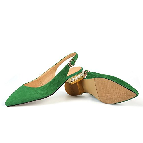 Buckle Flats Sandals Heels 1TO9 Beaded Womens Lambskin Green MJS02958 Chunky atxpnYqwg