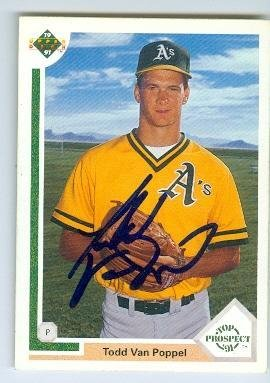 Todd Van Poppel Autographed Baseball Card Oakland Athletics 1991