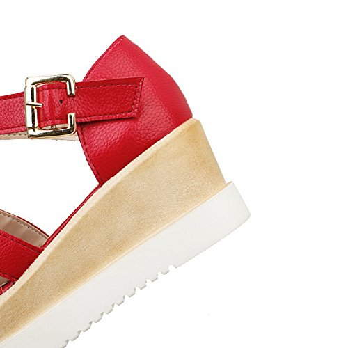 Womens Kitten Sandals Toe Soft Buckle Heels Open Material AllhqFashion Solid Red AwTdqRA