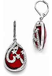 Stainless Steel Polished Red Glass and Crystal Lever back Earrings